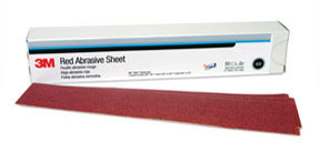 3M Company Red Abrasive Hookit™ Sheet, 2 3/4 in x 16 1/2 in, P180, 25 sheets per box
