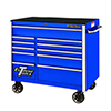 """Extreme Tools 41"""" RX Series 11-Drawer Roller Cabinet, Blue"""