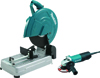 """Makita 14"""" Cut-Off Saw with Tool-Less Wheel Change and 4-1/2"""" Paddle Switch Angle Grinder"""