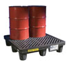 New Pig Corporation Economy Poly Spill Containment Pallet with Drain, (4) 55 Gallon Steel Drums