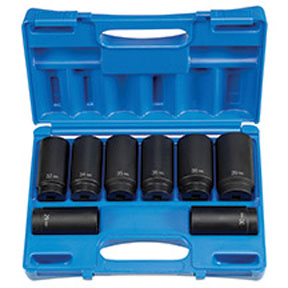 """Grey Pneumatic 8 Piece 1/2"""" Drive  12 Point Axle/Spindle Nut Socket Set"""