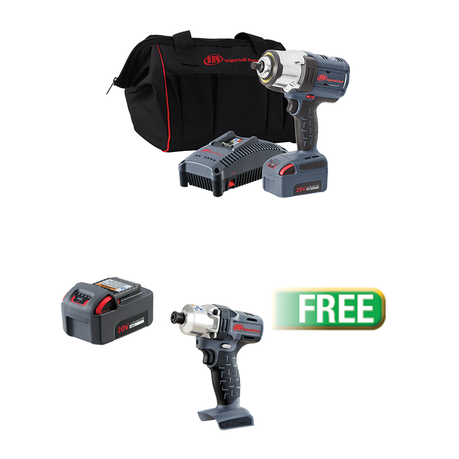 Ingersoll Rand ½½ IQV20 Impact Wrench, 1 Battery Kit W/PROMO 20V 1/4 IMPACT WRENCH & 20V 5AH BATTERY