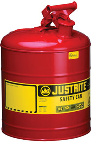 "Justrite Manufacturing Company Type I Safety Can 9 3/8""(O.D.) x 12 5/8""(H)"