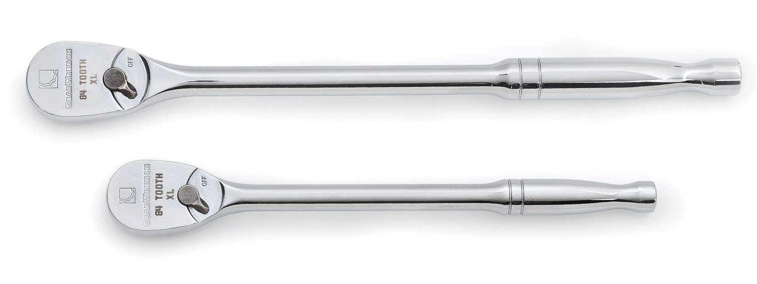 """GearWrench 2 Pc. 1/4"""" and 3/8"""" Drive Full Polish Long Handle 84 Tooth Teardrop Ratchet Set"""