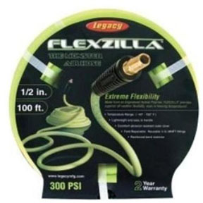 "Legacy Manufacturing Company 1/2"" X 100' Flexzilla® ZillaGreen™ Air Hose with 3/8"" Ends"