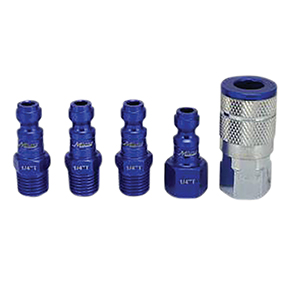 "Milton Industries ColorFit by Milton Coupler & Plug Kit - (T-Style, Blue) - 1/4"" NPT, (5-Piece)"