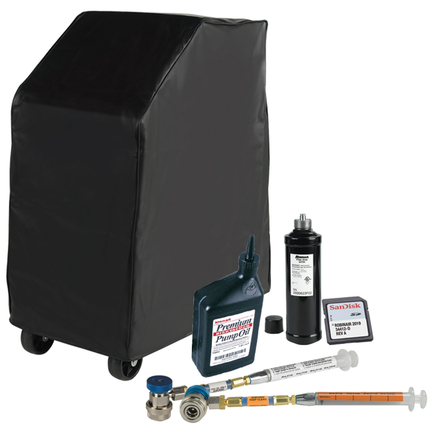 Robinair Combo Kit for R134A Vehicle A/C Refrigerant Database 2019 w/ Oil Injectors, Dust Cover, Filter & Oil