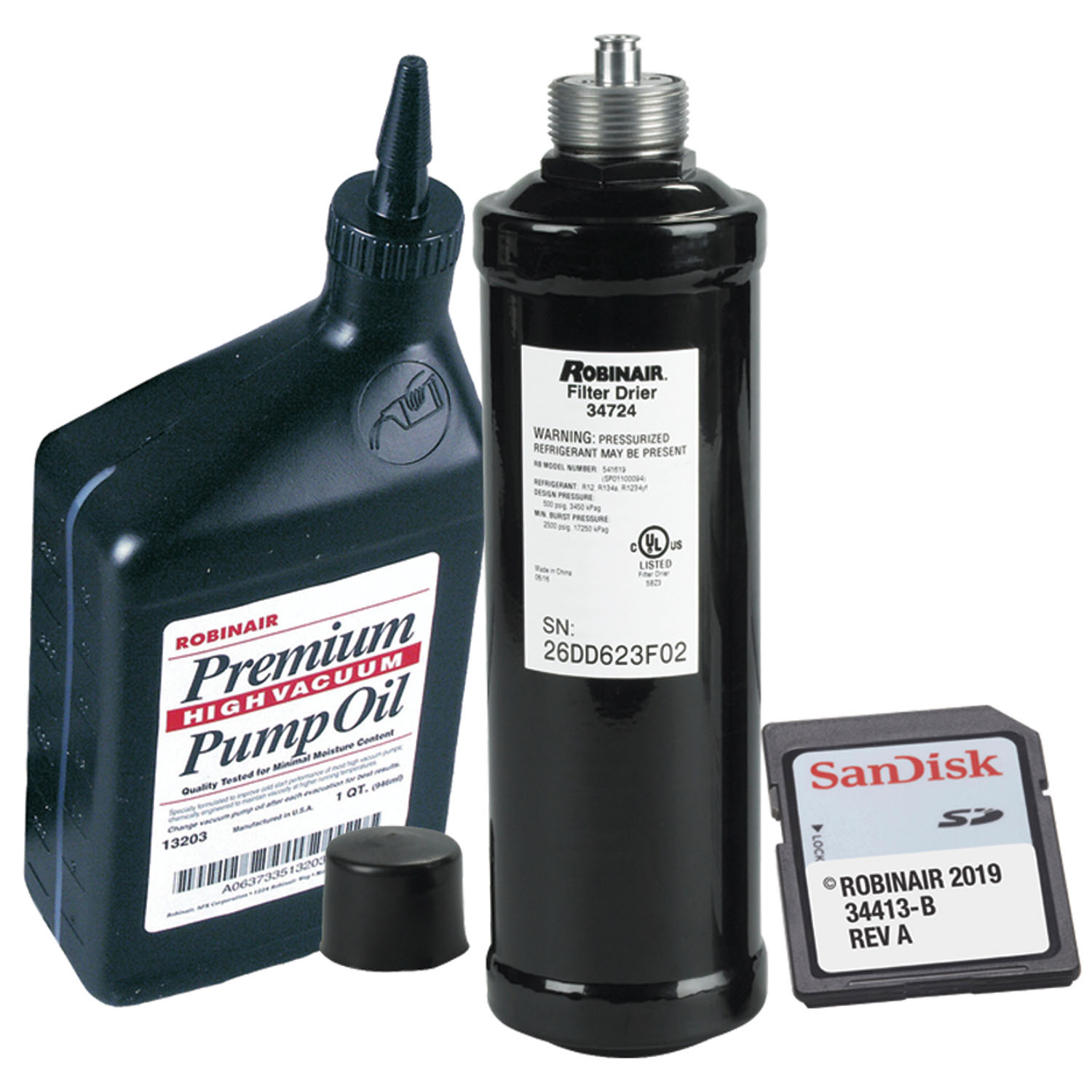 Robinair Combo Kit for R1234YF Vehicle A/C Refrigerant Database 2019 w/ Recycling Filter & Pump Oil - 16 oz