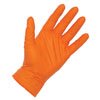 Atlantic Safety Products Orange Lightning Powder Free Nitrile Gloves, Large