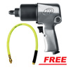 "Ingersoll Rand 1/2"" Super-Duty Air Impact Wrench with FREE Zilla Whip 3/8"" x 2' Ball Swivel Whip Hose"