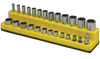 "Mechanic's Time Savers 1/4"" Dr Shallow/Deep 26-Hole Magnetic Socket Organizer, Neon Yellow"