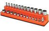 "Mechanic's Time Savers 1/4"" Dr Shallow/Deep 26-Hole Magnetic Socket Organizer, Solar Orange"