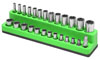 "Mechanic's Time Savers 1/4"" Dr Shallow/Deep 26-Hole Magnetic Socket Organizer, Neon Green"