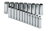 "SK Hand Tool 1/2"" Dr 12 Pt Deep Metric  Socket Set, 21 Pc"