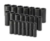 "SK Hand Tool 1/2"" Dr 6 Pt Deep Metric ImpactSocket Set, 22 Pc"