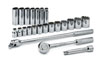 "SK Hand Tool 1/2"" Dr 12 Pt STD and Deep SAE  Socket Set, 23 Pc"