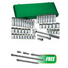 "SK Hand Tool 47Pc 1/2"" Dr 12Pt Std & Dp SAE & MET Socket SuperSet® w/FREE Ext Chrome Wobble Set, 5Pc"