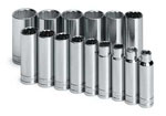 "SK Hand Tool 1/2"" Dr  Socket Chrome 6 Pt Deep SAE Set, 15Pc"