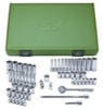 "SK Hand Tool 1/4"" Dr 6 Pt STD and Dp SAE and Met  Socket Set, 60Pc"
