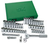 "SK Hand Tool 49 Pc. 3/8"" Drive 6 Point Standard and Deep Fractional and Metric Socket Set with Universal Joint"