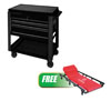 Sunex Tools 3 Drawer Slide Top Utility Cart w/ Power Strip, Black w/FREE 6 Caster Creeper