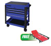 Sunex Tools 3 Drawer Slide Top Utility Cart w/ Power Strip, Blue w/FREE 6 Caster Creeper