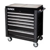 Sunex Tools 6 Drawer Slide Top Service Cart w/ Power Strip, Black