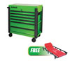 Sunex Tools 3 Drawer Slide Top Utility Cart w/ Power Strip, Lime Green w/FREE 6 Caster Creeper