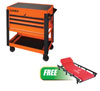 Sunex Tools 3 Drawer Slide Top Utility Cart w/ Power Strip, Orange w/FREE 6 Caster Creeper
